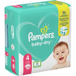 Pampers Pampers Couches baby-dry taille 4, 9-14kg Le paquet de 26 couches