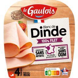 Le Gaulois Le gaulois Blanc de dinde sans OGM, sans nitrite la barquette de 4 tranches - 160g