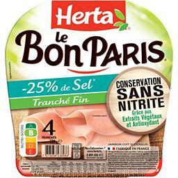 Herta Herta Le bon Paris - jambon tranché fin sans nitrite -25% de sel le paquet de 120g