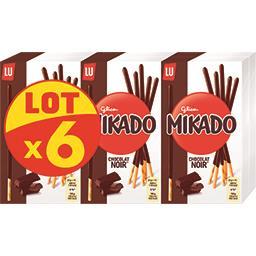 LU LU Mikado - Biscuits chocolat noir le lot de 6 boites de 90 g
