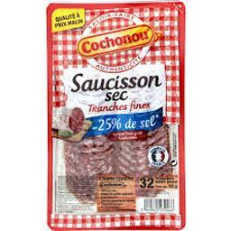Cochonou Cochonou Saucisson sec sel réduit la barquette de 32 tranches - 100 g