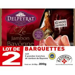 Delpeyrat Delpeyrat Le Jambon de Bayonne le lot de 2 barquettes de 100 g