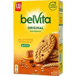 LU LU Belvita - Biscuits Petit Déjeuner Original miel pépites chocolat le paquet de 8 sachets - 435 g