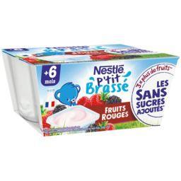 Nestlé P'tit Brassé Petit pot dessert lacté fruit rouges - dès 6 mois les 4 pots de 100g - 400g