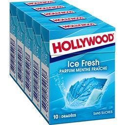 Hollywood Hollywood Chewing-gum Ice Fresh sans sucres parfum menthe fraîche les 5 boites de 10 dragées - 70 g