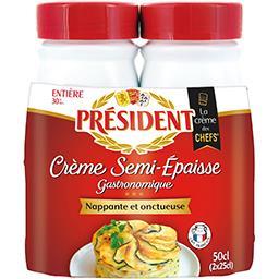 Président Président Crème entière semi-épaisse 30% MG les 2 bouteilles de 25 cl