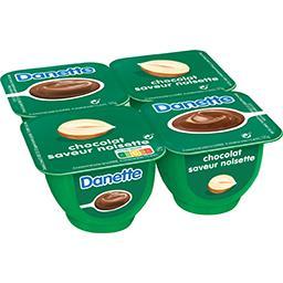 Danone DANETTE Crème dessert chocolat saveur noisette les 4 pots de 125 g