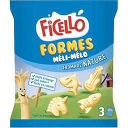 Ficello Ficello Fromage Formes Méli-Mélo nature les 3 sachets de 22,5 g