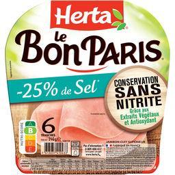 Herta Herta Le bon Paris - jambon sans nitrite -25% de sel le paquet de 6 tranches - 210g