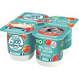 Les 300 & Bio Les 300 & bio Yaourts Bio aux fruits - pomme et poire le lot de 4 pots de 125g - 500g