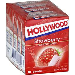 Hollywood Hollywood Chewing-gum parfum fraise sans sucres les 5 boîtes de 10 dragées - 70 g