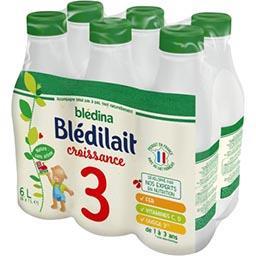 Blédina Blédina Blédilacté Croissance - Aliment lacté liquide, de 1 à 3 ans les 6 bouteilles de 1 l