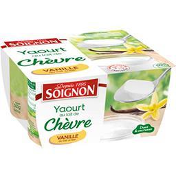 Soignon Soignon Yaourt au lait de chèvre vanille les 4 pots de 125 g