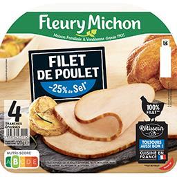 Fleury Michon Fleury Michon Filet de poulet réduit en sel la barquette de 4 tranches - 120g