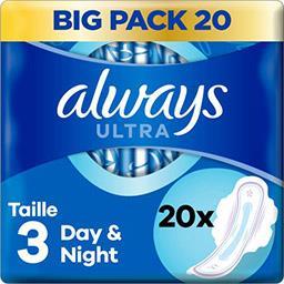 Always Always Serviettes hygiéniques ultra  day & night (t3) avec ailettes Le paquet de 20 serviettes