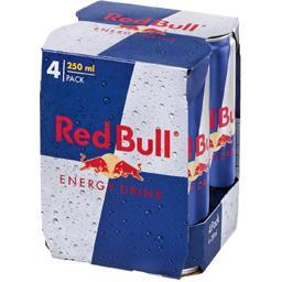 Red Bull Red Bull Boisson énergisante à base de taurine les 4 boites de 250 ml