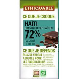 Ethiquable Ethiquable Chocolat noir Haïti 72% BIO la tablette de 100 g