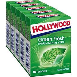 Hollywood Hollywood Green Fresh - Chewing gum parfum menthe verte sans sucres les 5 boites de 14 g