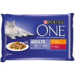Purina One Purina One Effilés en sauce poulet et bœuf pour chats adultes les 4 sachets de 85 g