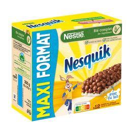 Nestlé Nestlé Céréales Nesquik - Barre de céréales chocolat et lait les 12 barres de 25 g