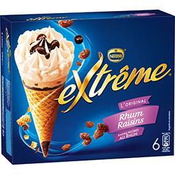 Nestlé Extrême L'Original - Glaces rhum raisins la boite de 6 cônes - 426 g