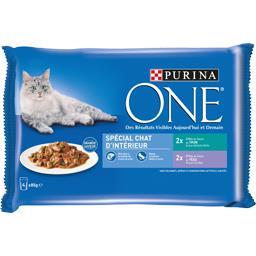 Purina One Purina One Effilés en sauce Spécial chat d'intérieur les 4 sachets de 85 g