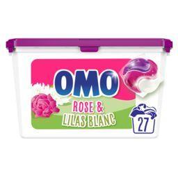 Omo Omo Lessive capsules 3en1 rose & lilas blanc la boîte de 27 dosettes - 27 lavages