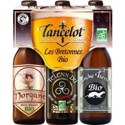 Brasserie Lancelot Lancelot Assortiment bières Les Bretonnes BIO les 3 bouteilles de 33 cl
