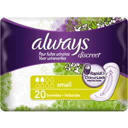 Always Always Discreet serviettes small pour fuites urinaires et incontinence Le paquet de 20 serviettes