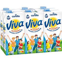 Candia Candia Viva - Lait source de 10 vitamines calcium & vitamine D les 6 briques de 1 l