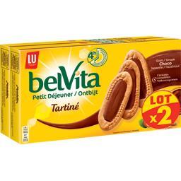 LU LU Belvita Petit Déjeuner - Le Tartiné goût choco-noisette & cé le lot de 2 paquets de 250g