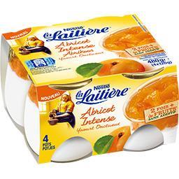 La Laitière La Laitière Yaourt onctueux abricot intense les 4 pots de 120 g