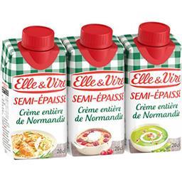 Elle & Vire Elle & Vire Crème entière de Normandie semi-épaisse les 3 briques de 20 cl