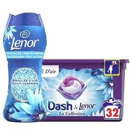 Dash DASH LENOR Lessive envolée d'air, la boîte de 32 et parfum de linge en perles la boîte de 224g Le lot