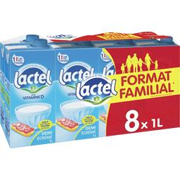 Lactel Lactel Lait demi-écrémé enrichi en vitamine D le pack de 8 bouteilles de 1L