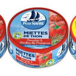 Petit Navire Petit navire Miettes de thon à la tomate & herbes de Provence les 3 boîtes de 160g