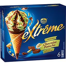 Nestlé Extrême L'Original - Glaces chocolat pistache pépites de nougatine la boite de 6 cônes - 426 g