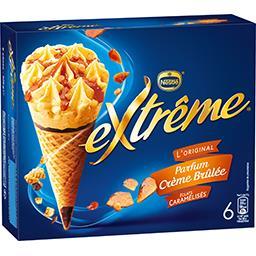 Nestlé Extrême L'Original - Glaces parfum crème brûlée éclats caramélisés la boite de 6 cônes - 426 g