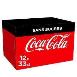 Coca Cola Coca-Cola Soda sans sucres le pack de 12 x 33 cl - 3.9l
