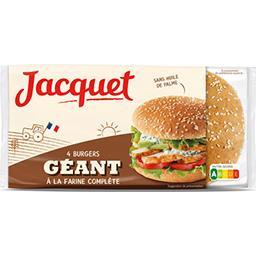 Jacquet Jacquet Pain Burger géant à la farine complète le paquet de 4 - 330 g