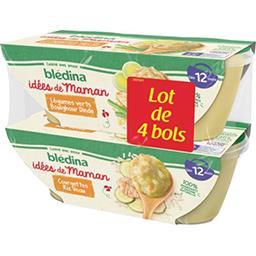 Blédina Blédina Les Idées de Maman - Courgettes riz veau/légumes boulghour dinde, dès 12 mois les 4 bols de 200 g