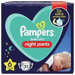 Pampers Pampers Night pants - couches-culottes pour la nuit taille 6, 15kg+ Le paquet de 31 couches culottes