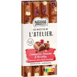 Nestlé Nestlé Grand Chocolat Les Recettes de l'Atelier - Chocolat au lait Cranberries amande & noisettes la tablette de 170 g