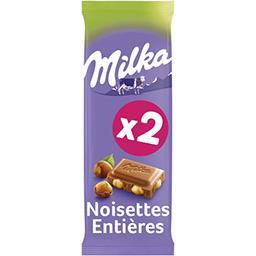 Milka Milka Chocolat au lait noisettes entières les 2 tablettes de 100 g