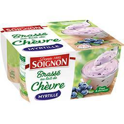 Soignon Soignon Yaourt brassé au lait de chèvre myrtille les 4 pots de 125 g
