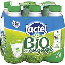 Lactel Lactel Lait écrémé BIO U.H.T les 6 bouteilles de 1 l