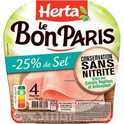 Herta Herta Le bon Paris - jambon sans nitrite -25% sel le paquet de 4 tranches - 140g