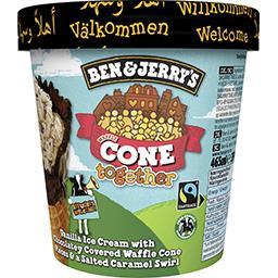 Ben & Jerry's Ben & Jerry's Glace vanille avec morceaux de cornet gaufrette au chocolat et caramel salé le pot de 465ml