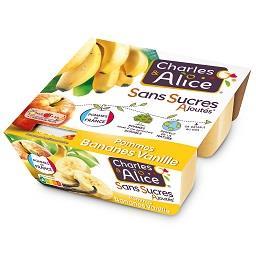 Charles & Alice Charles & Alice Dessert pommes bananes vanille sans sucres ajoutés les 4 pots de 97 g