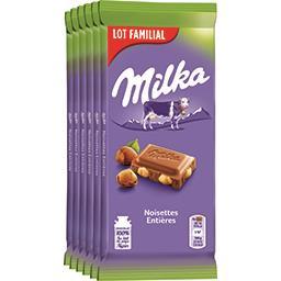 Milka Milka Chocolat au lait noisettes entières les 5 tablettes de 100 g
